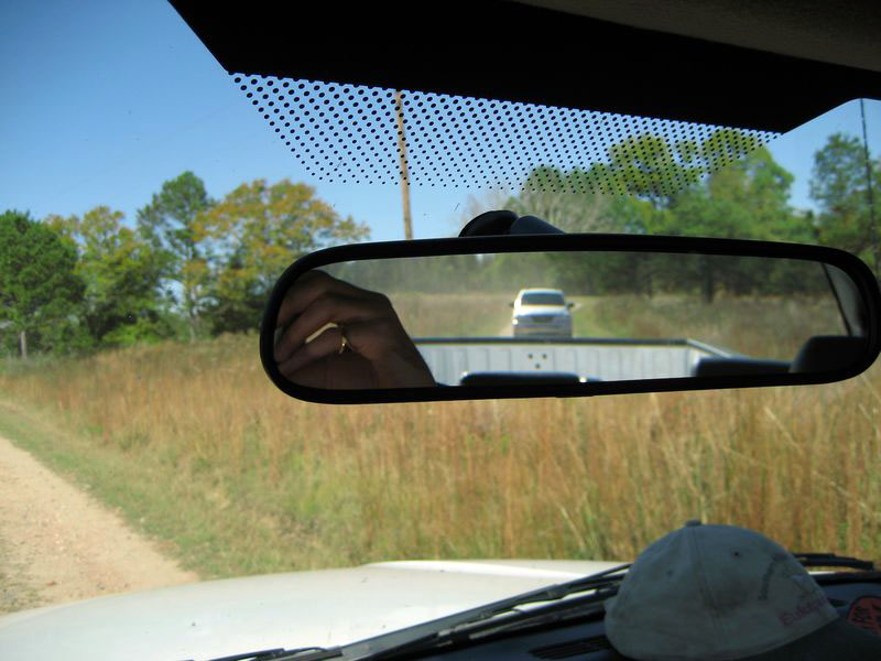 That's me driving in the rear mirror!