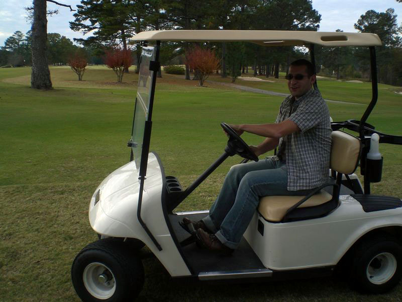 Driving a golf buggy