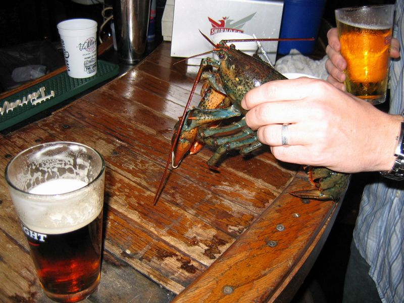 Enjoying a drink with the lobster