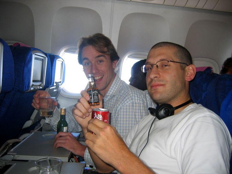 Drinking on the plane, Olaf and Guy