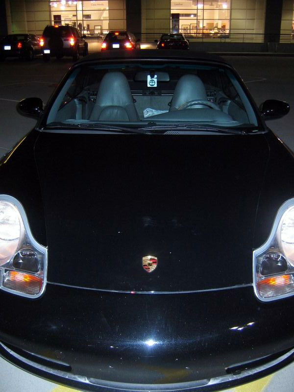 Johnny's birthday present, a Porsche (you can't fit three people in there by the way)