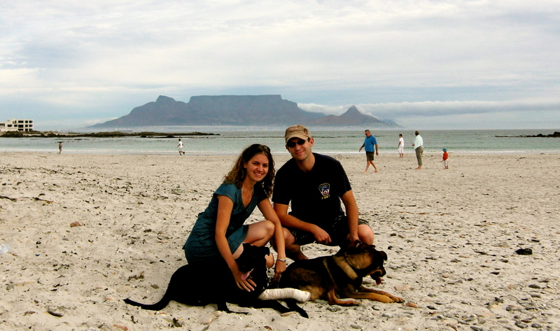 Olaf, Lindsey, the dogs and table mountain in the back