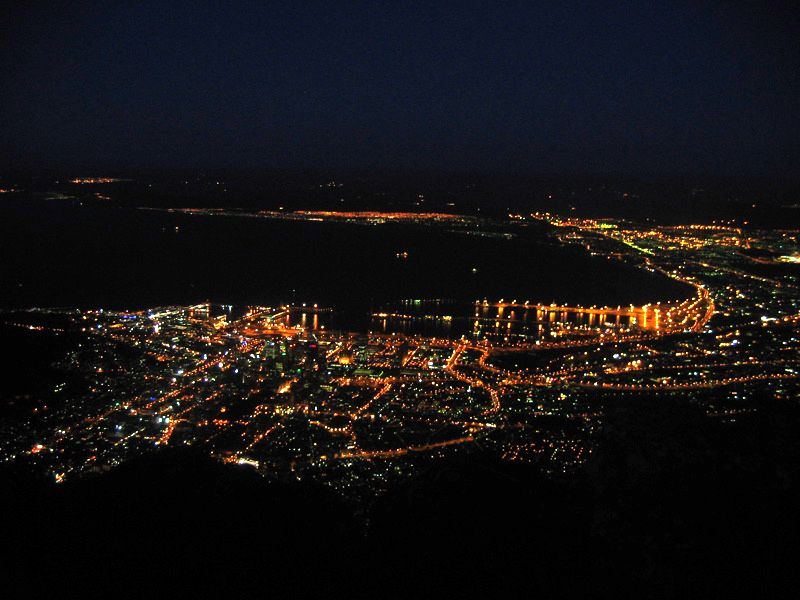 Cape Town by night with lights