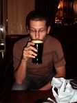 In London, drinking Guinness