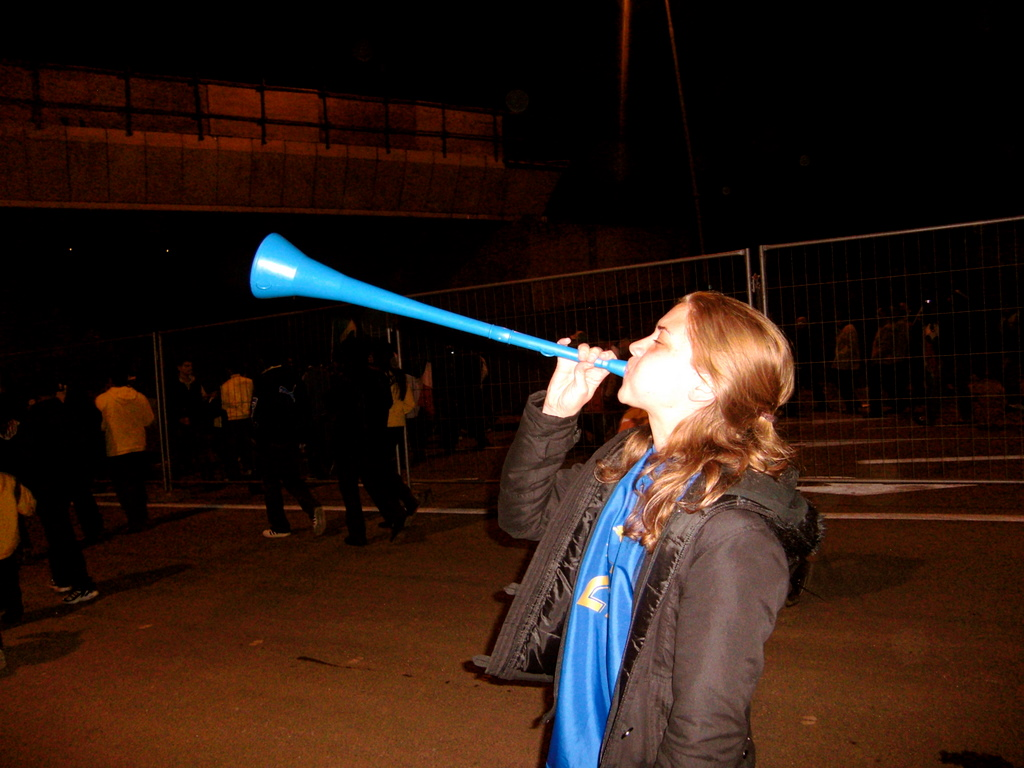 Lindsey marching with the Vuvuzela before Italy-Brazil