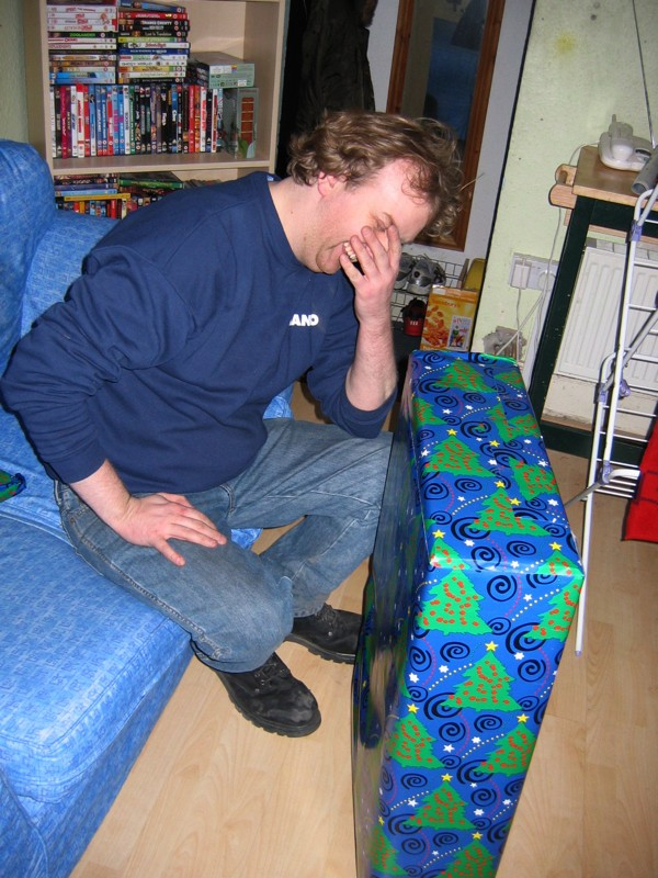 Rob gets my present (an office chair)