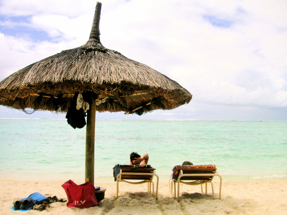 On the beach opposite the Silver Beach Hotel in Mauritius