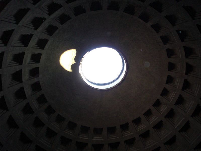 Inside the pantheon: yes, that's a huge hole at the top