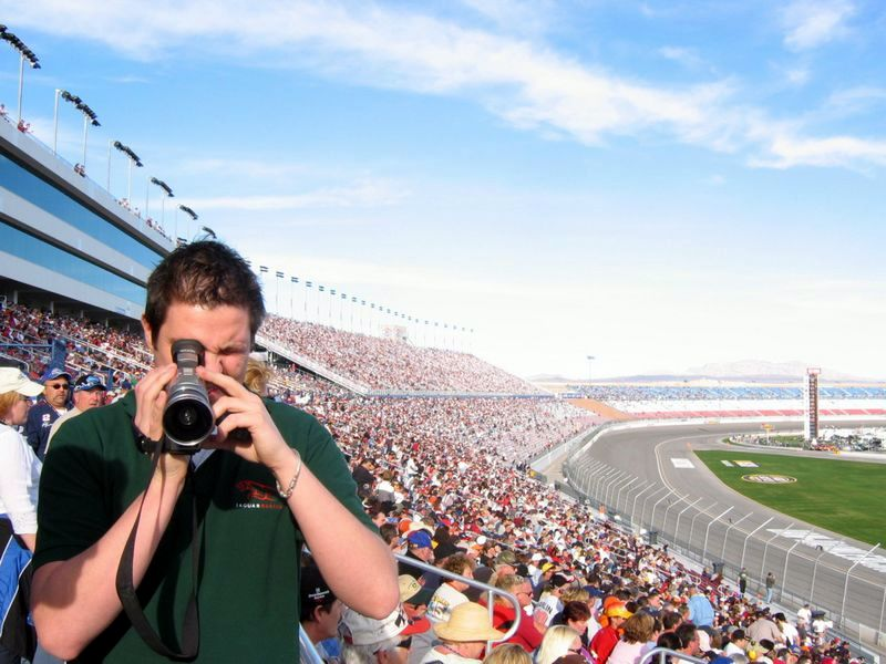 Filming fat people watching Nascar Racing