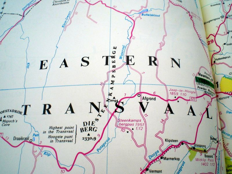 Eastern Transvaal on my old map (a.k.a. Mpumalanga)