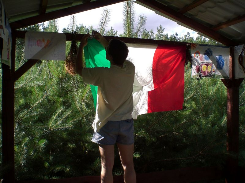 Michal improves the place with an italian flag