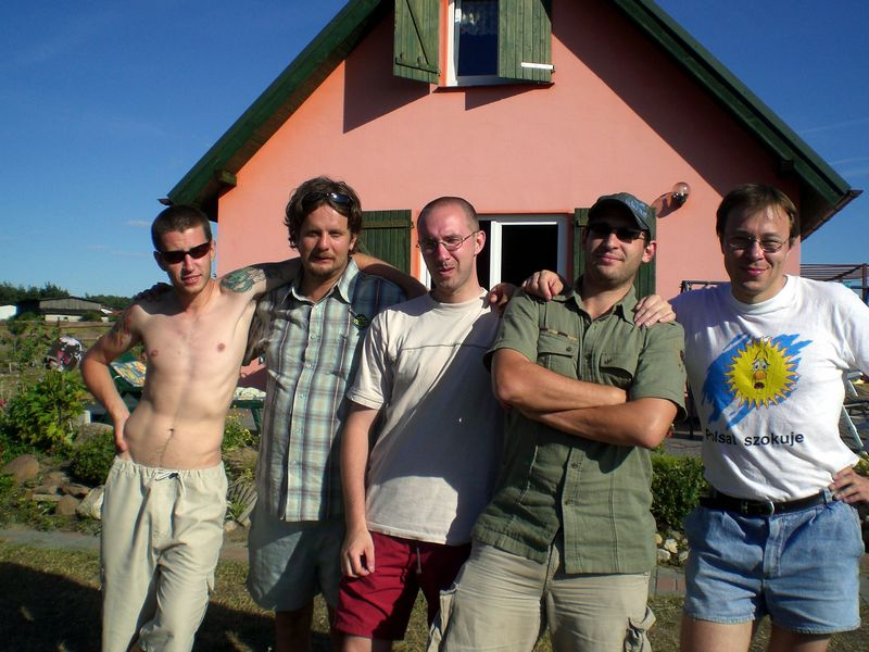 The boys: Marcin, Zybisz, Dom, Olaf and Michal (with a camp combination of clothes!)