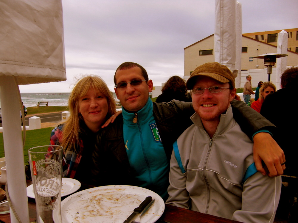 With Kirsten and Andy, lunch by the ocean
