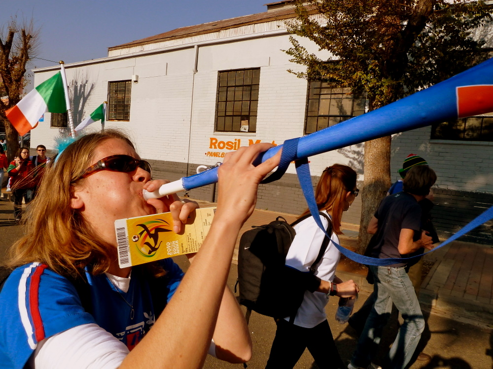 Lindsey blowing the vuvuzela