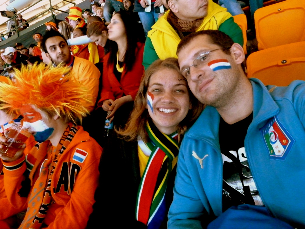 Lindsey and I surrounded by Dutch supporters