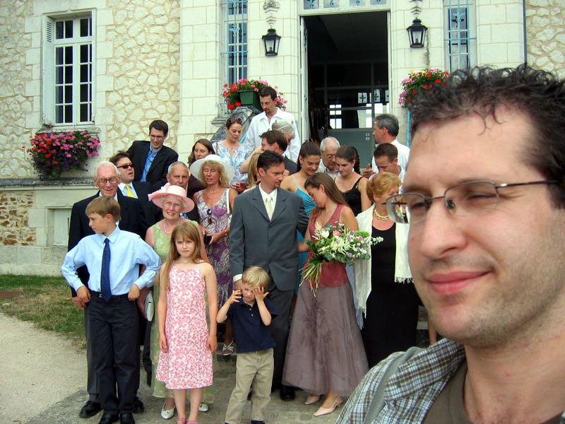 Wedding guests (and my face)